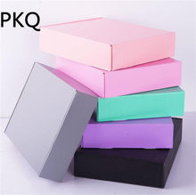15*15*5cm 10pcs Black/gray/pink Large Kraft paper gift packaging box,kraft cardboard handmade gift present paper packing box(China)