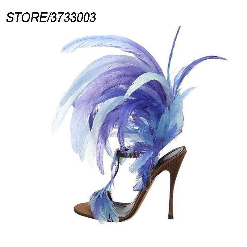 Individual Feather Sandalias Mujer Stiletto Heel T-strap Open Toe Catwalk Stage Nightclub Shoes SummerIndividual Feather Sandalias Mujer Stiletto Heel T-strap Open Toe Catwalk Stage Nightclub Shoes Summer