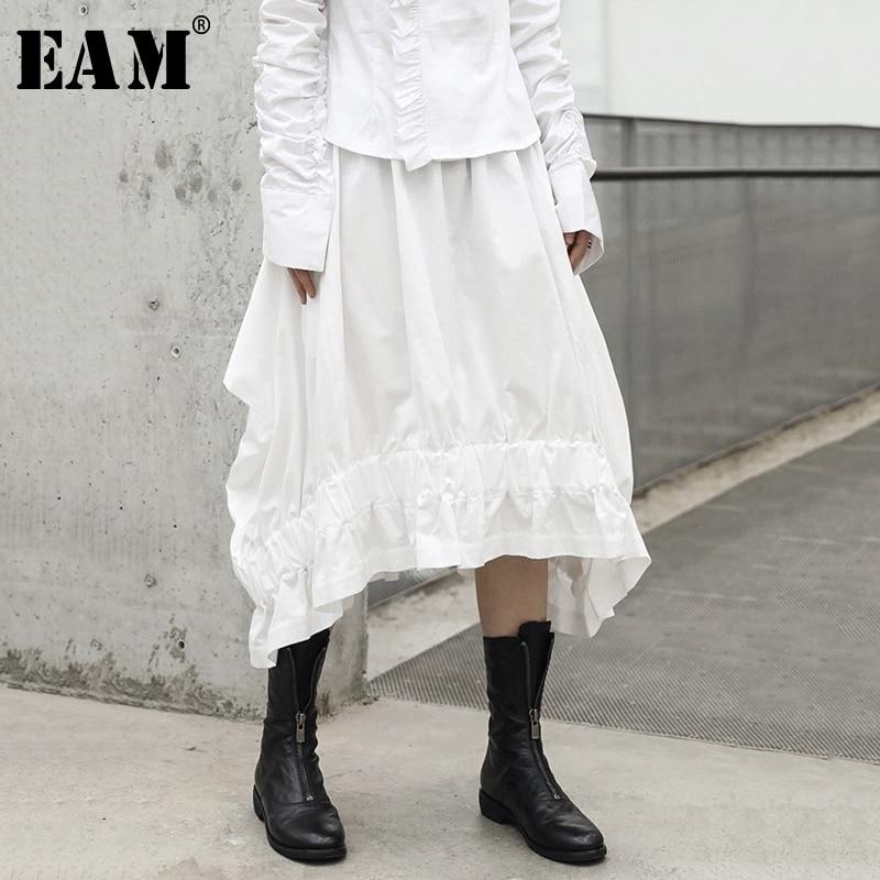 eam Skirts 2019 Spring New Fluffy Fold Cotton Solid Color Black Big Swing Pocket Half-body Skirt Women Y90201s
