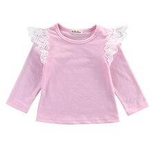 Детская одежда для маленьких девочек, хлопковая футболка с длинными рукавами и оборками, блузка, кружевной топ, футболка, комплекты