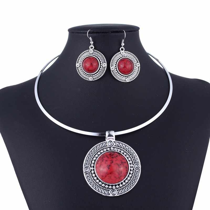 Round Collar Torques Necklace Set Earrings for Women Jewelry Set Red Stone Vintage Jewelry Sets Sieradenset Rood Taki Seti Rood