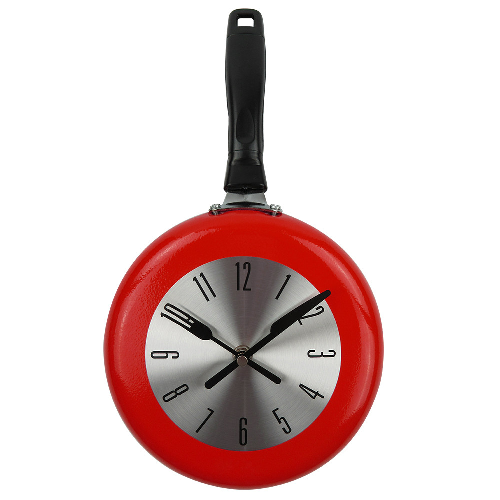 Wall Clock Metal Frying Pan Design 8 Inch Clocks Kitchen Decoration Quartz Wall Mounted Clocks Office Living Room