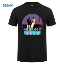 GILDAN New MIAMI VICE Retro TV Series Don Johnson Mens Black T-Shirt Size T Shirt Men Funny Tee  Short Sleeve