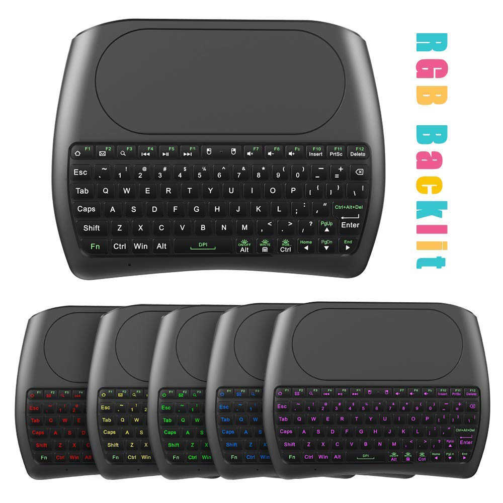 7 Warna Backlit D8 Pro 2.4 GHZ Wireless Mini Keyboard Bahasa Inggris Bahasa Rusia Udara Mouse Touchpad Controller untuk Android TV Box PC I8 PLUS