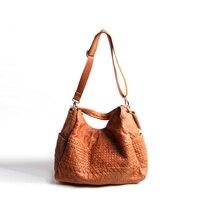 Retro Leather Shoulder Bag for Women Large Vintage Genuine Leather School Girl Messenger Bags Patchwork Weave Causal Knapsack
