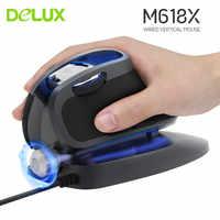 Delux m618x mouse vertical ergonômico wired gaming computador 6d ratos 600/1200/1600/4000 diodo emissor de luz laser mause para mac computador portátil