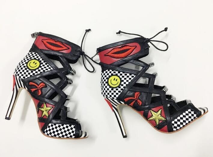 Picture 2018 Mélangées Peep Chaude Toe Dames Hauts Badge Bottes Couleurs Date Bottine as Picture Femmes Lacets À Pois As Stiletto Chaussures Club Talons BrBwxZvq