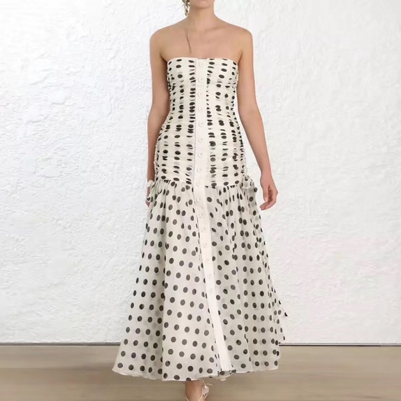 TWOTWINSTYLE Sexy Black Dot Long Dress Women Sleeveless High Waist Ruched Off Back Elegant Female Clothing Summer 2019 Tide New