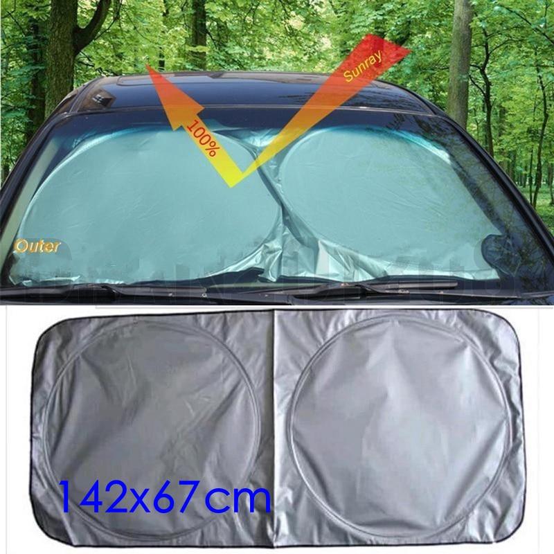LMoDri Car Front Window Sun Shade Auto Windshield Visor Cover Block Sunshade Foldable Cover 142*67cm