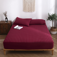 High Quality Cotton Red Plaid Fitted Sheet Modern Simple Style Sheets 30cm Height Bed Sheet Hot Selling Bed Linens 1PCS