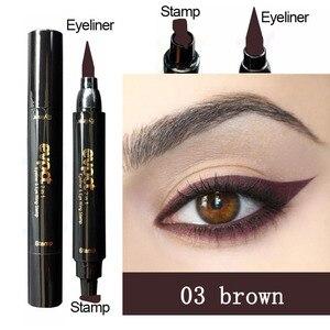 Жидкая матовая подводка для глаз Evpct 2 в 1, цветная тонкая подводка для глаз с принтом в виде крыльев, черная, блестящая, синяя, коричневая подводка для глаз, карандаш для глаз, макияж TSLM1