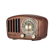 AABB-Vintage Radio Retro Altavoz Bluetooth-Nogal madera Fm Radio potentes graves mejora de volumen alto Bluetooth 4,2 Aux T(China)