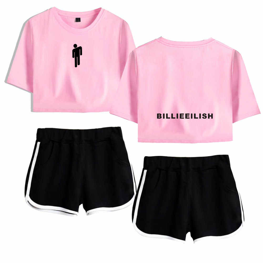 Zomer Trainingspak Vrouwen 2 Delige Set Billie Eilish Crop Top Shorts Tweedelige Outfits Casual Vrouwen Trainingspak Sportwear Twopiece