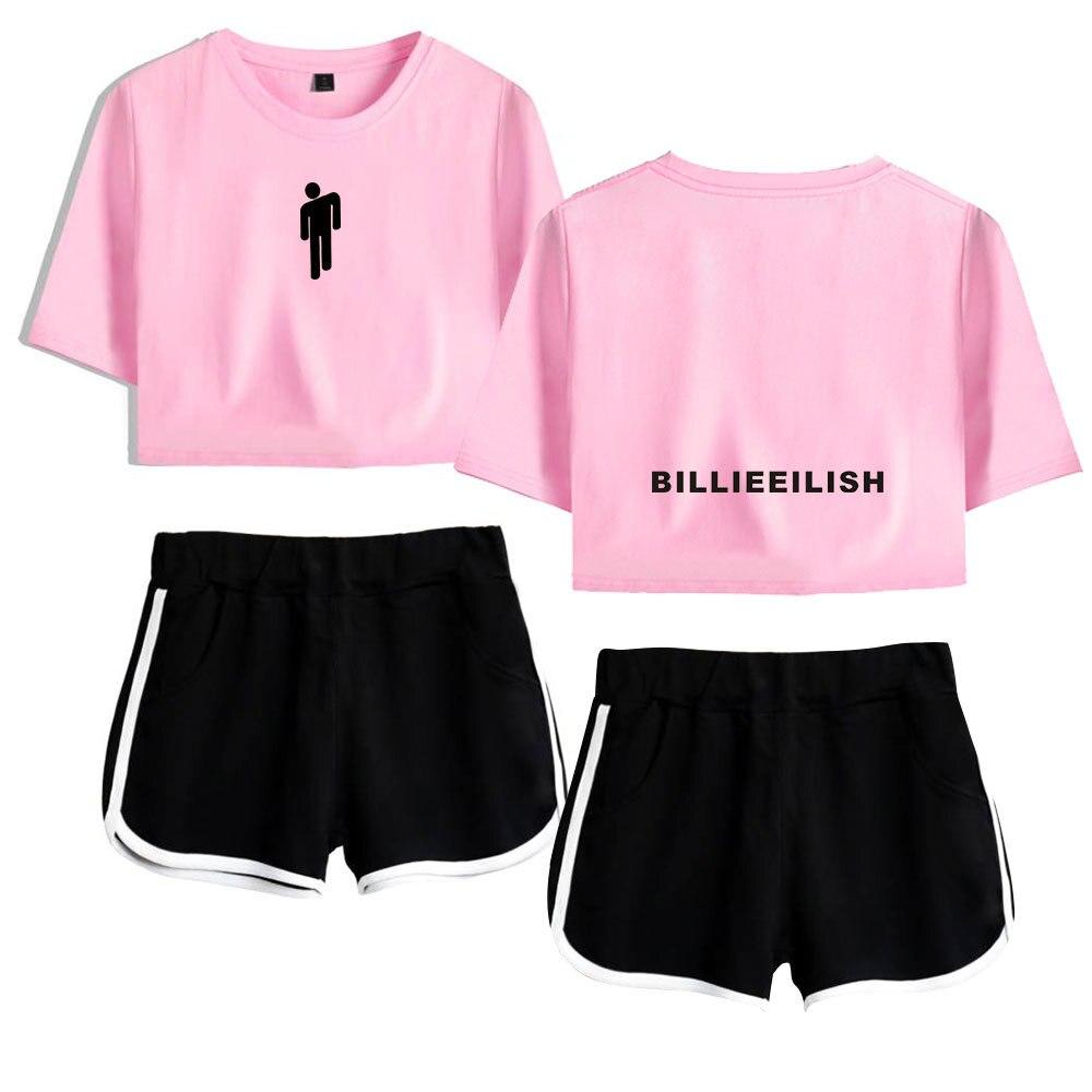 Summer Track Suit Women 2 Piece Set Billie Eilish Crop Top Shorts Two Piece Outfits Casual Women Tracksuit Sportwear Twopiece