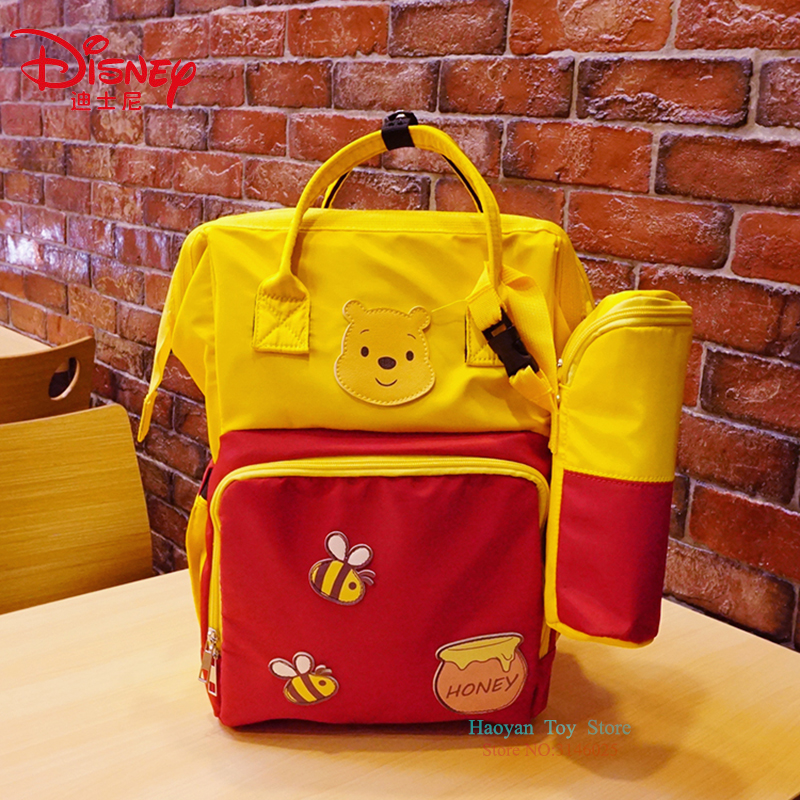 Genuine Disney Golden Mommy Large Capacity Double Shoulder Travel Backpack Fashion Multifunction Handbag Bottle Insulation Bags
