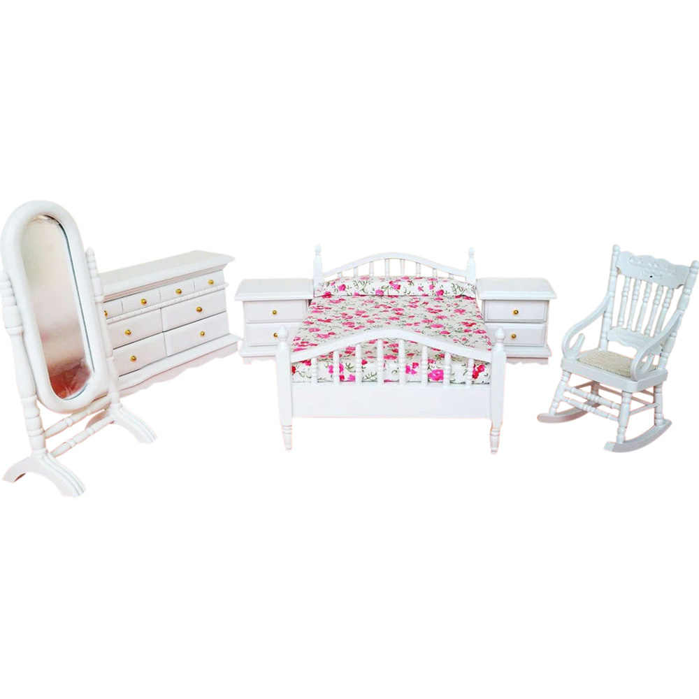 1:12 Dollhouse Miniature Furniture White Fashion Bedroom Set 6PCS Bed Chair Cabinet Dresser Mirror WB063