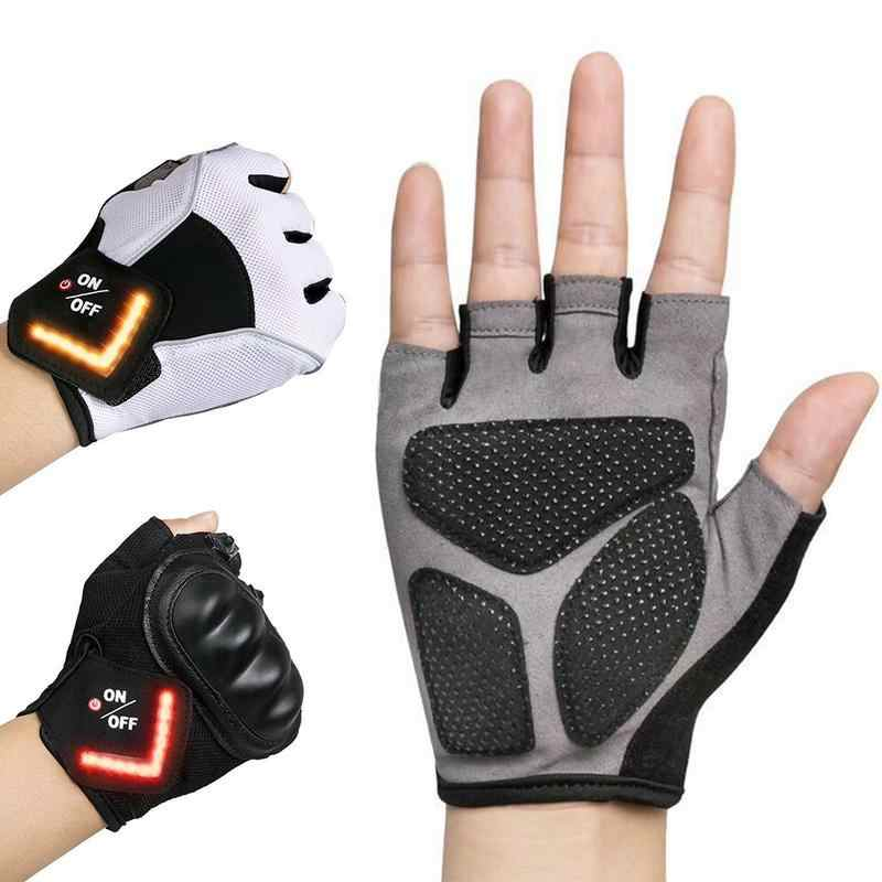 Motorcycle Bike Half Finger Smart Glove Women Cycling Gym Anti-slip Pad Riding Tactical Gloves LED Signal Lights Leather Gloves
