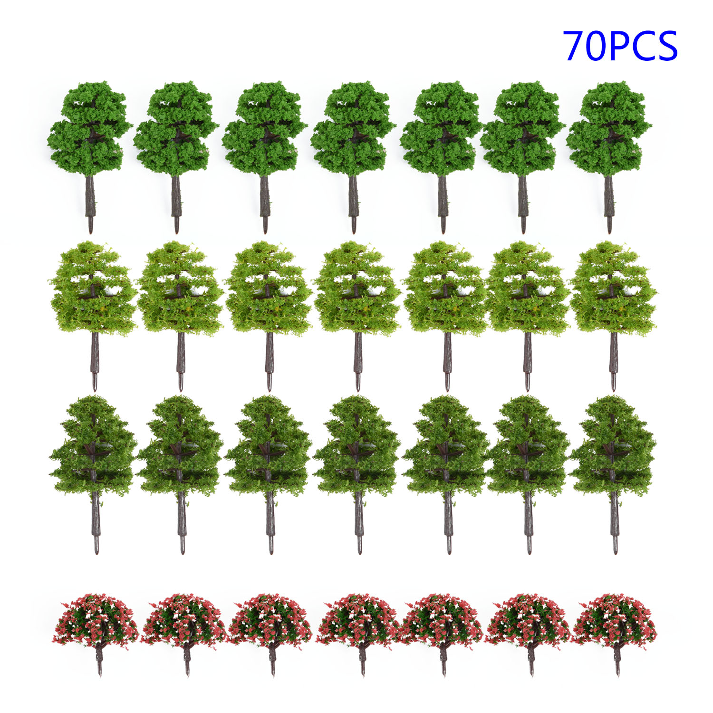 70pcs Model Trees 1:75/1:100 HO Z TT Scale Layout Train Garden Park Buildings