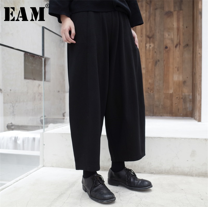 [EAM] 2019 New Autumn Winter High Elastic Waist Black Loose Thick Long Wide Leg Pants Women Trousers Fashion Tide JL728-in Pants & Capris from Women's Clothing    1