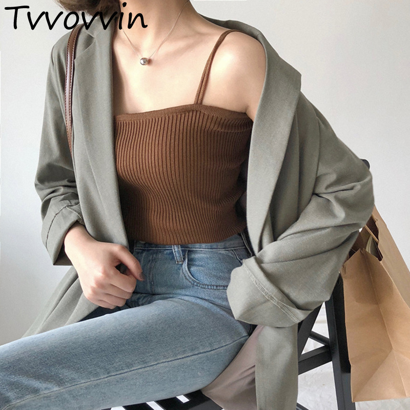 2019Autumn Winter Bottoming   Tops   cotton Solid Color Sexy Casual Camis Sling   Tank     Tops   Knitting Elasticity Fashion Vest Q901
