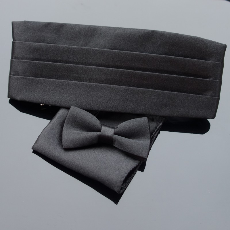 Premium Kid's Tuxedo Satin Children Cummerbund Bowtie Hanky Set Wedding Formal Prom Dinner Party Pattern Gravata Boy Necktie