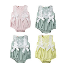 Baby Girl Bodysuit Sweet Toddler Baby Girl Summer Lace Bodysuit Sleeveless Bow Spring Solid Color Jumpsuit Sunsuit Baby Clothes(China)