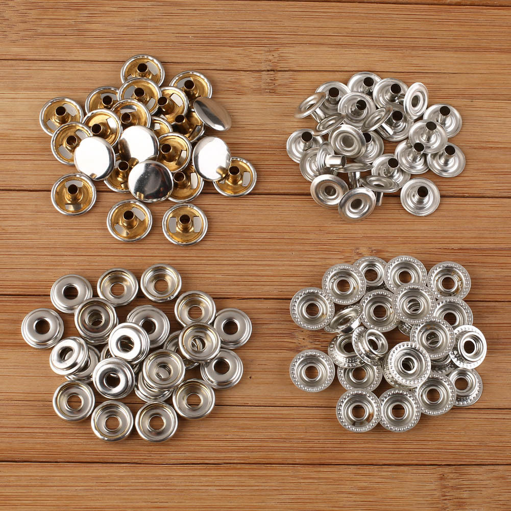 100pcs Stainless Steel Fastener Snap Press Stud Cap Button For Tent Marine Boat Canvas Leather Craft Clothing Handbags DIY Craft
