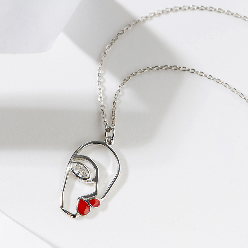 Kamille 925 Sterling Silver Necklace Red Lips Face Pendant Necklaces Hollow Facial Contour Fashion Jewelry Birthday Valentine 39 s in Necklaces from Jewelry amp Accessories