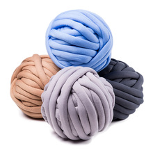 500g/ball Width 3cm Super Thick Merino Wool Chunky Yarn DIY Bulky Hand Knitting Blanket Basket Pillow Arm Roving Yarn QW066