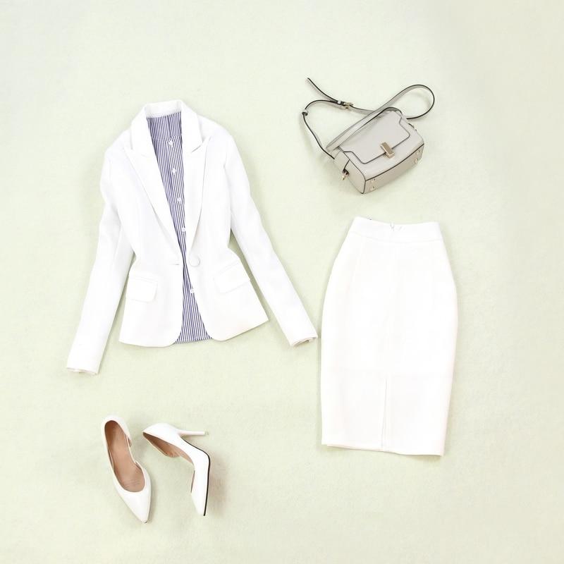 Women's Suits 2019 Summer New Women's Large Size Single Buckle White Small Suit Jacket Slim Bag Hip Split Skirt Two-piece Suit