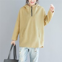 Plus Size Autumn Spring Women Fashion Elegant Zipper Turtleneck Tops Hoodies Ladies Female Large Loose Sweatshirt