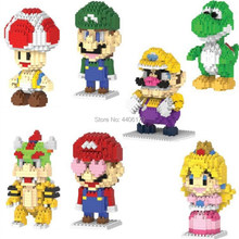 hot compatible LegoINGlys micro diamond block Classic image of the game super mario bros Luigi peach Bowser Building Block toys(China)