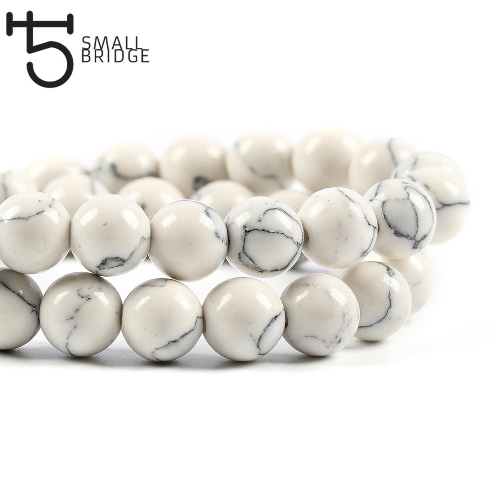 4 6 8 10 Mm Natural White Howlite Turquoises Beads For Jewelry Making Bracelet Diy Round Stone Strand Beads Wholesale S202 Removing Obstruction Beads & Jewelry Making