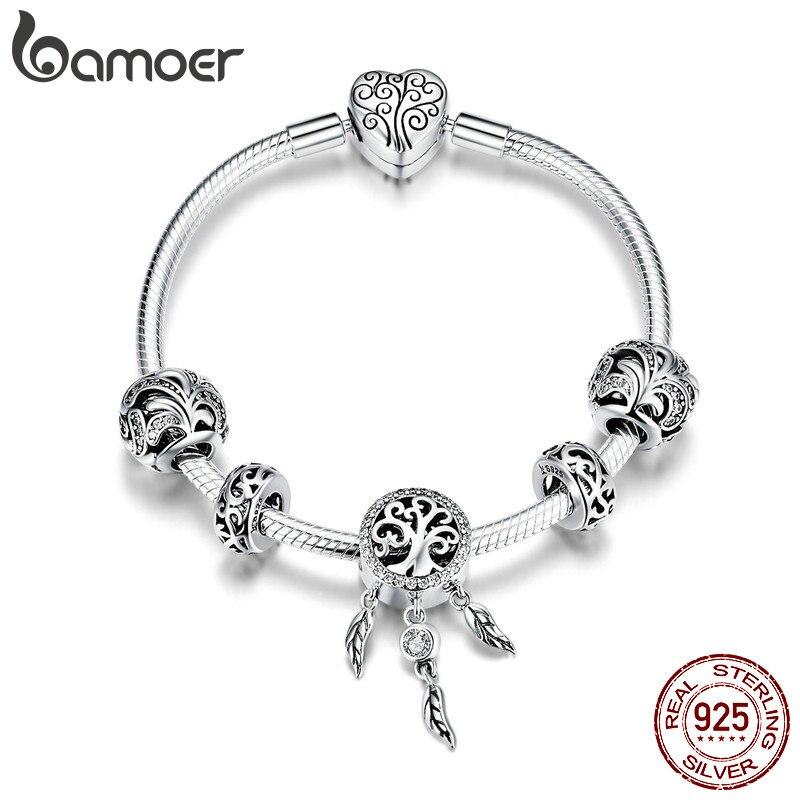 BAMOER Hot Sale 925 Sterling Silver Dream Catcher Forest Tree Leaves Charm Bracelets for Women Sterling