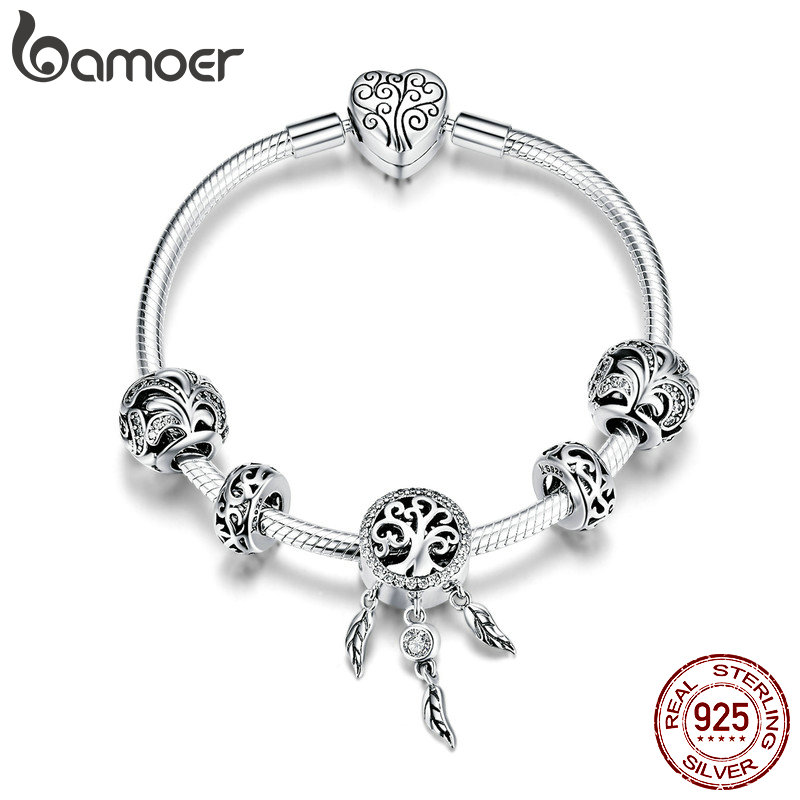 BAMOER Hot Sale 925 Sterling Silver Dream Catcher Forest Tree Leaves Charm Bracelets for Women Sterling Silver Jewelry SCB814BAMOER Hot Sale 925 Sterling Silver Dream Catcher Forest Tree Leaves Charm Bracelets for Women Sterling Silver Jewelry SCB814