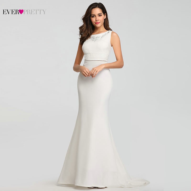 Plus Size Lace Wedding Dress 2020 Mermaid Sleeveless O-neck Vestidos De Novia 2020 Ever Pretty Elegant Bride Dress Prom Gowns