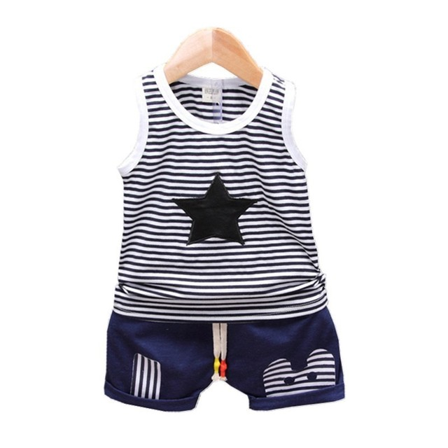 fd83f12b661c Fashion Children Boys Girls Summer Clothing Suits Baby Vest Shorts 2Pcs  Kids Embroidery Star Clothes Toddler Tracksuits