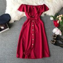 Винтажное женское однотонное платье летнее модное платье с вырезом лодочкой и поясом с рукавом-бабочкой ТРАПЕЦИЕВИДНОЕ Повседневное Платье До Колена на пуговицах