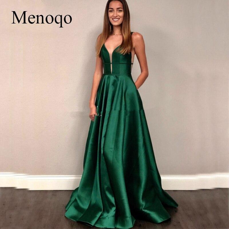 Menoqo Sexy Bust Open V Neck Satin   Dress     Evening   Party 2019 Green Long   Evening     Dresses