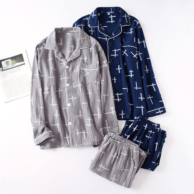 Men's 100% Cotton Gauze Pajamas Long-sleeved Trousers Crepe Men Sleepwear Pyjamas Mens Pijamas Big Size Loose Wrinkle Couple Set