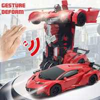 2in 1 Remote Control Cars 1:12 Rc Transformer Gesture Sensing Electric Car Drive Sport Collision Deformation Car Robot Toys Gift