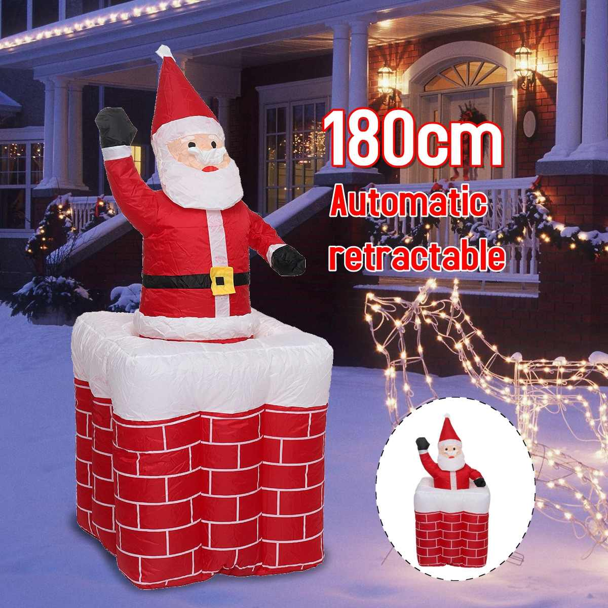 1.8 M Christmas home gard decoration lifting chimney inflatable Santa Claus light ornaments Christmas decorations Toy gifts 2018 new 5m lighted climbing santa inflatable outdoor christmas 16 4ft christmas large santa decorations inflatable toy