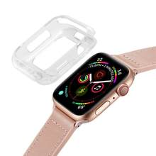 Carcasa protectora de media cobertura de TPU suave ALLOYSEED para Apple Watch Series 4 40mm 44mm funda protectora marco para iWatch4(China)