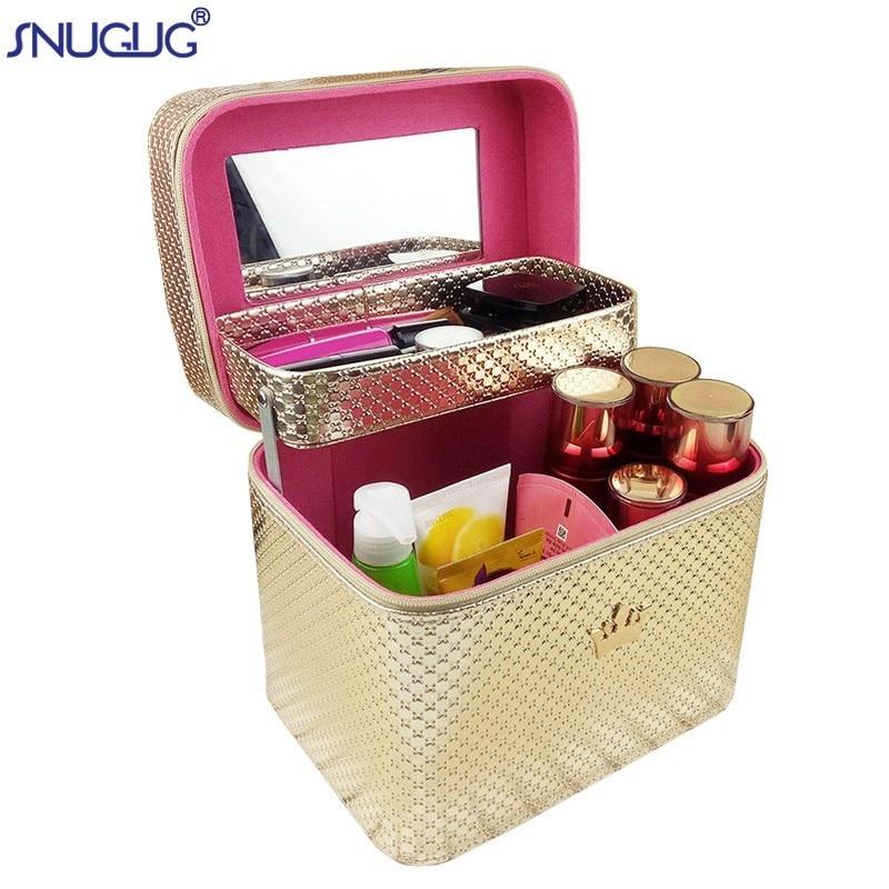 Women Large Capacity Professional Pretty Crown Suitcase Makeup Organizer Fashion Toiletry Cosmetic Bag Multilayer Storage Box makeup organizer box