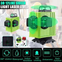12 Lines 3D Level Self Leveling Laser Levels Green Light Beam Line Rotary 360 Horizontal Vertical Cross Automatic Laser Line