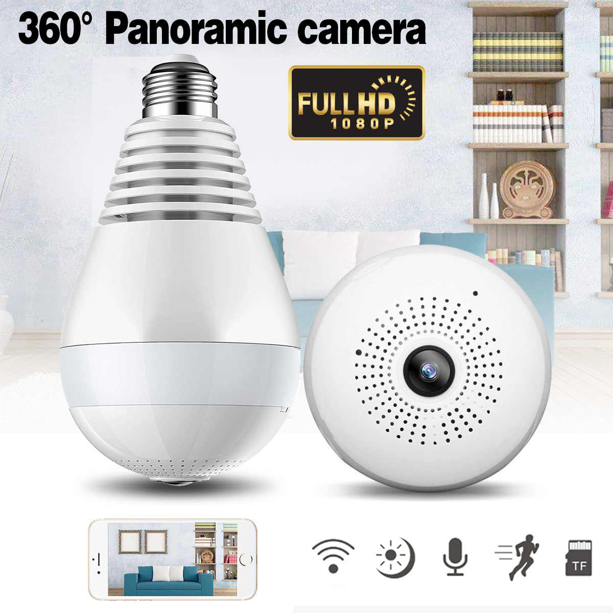 Panoramic 3D Bulb Lamp Wireless IP Camera WiFi 1080P HD FishEye Home Security Camera 360 Degree Night Vision Strong Function