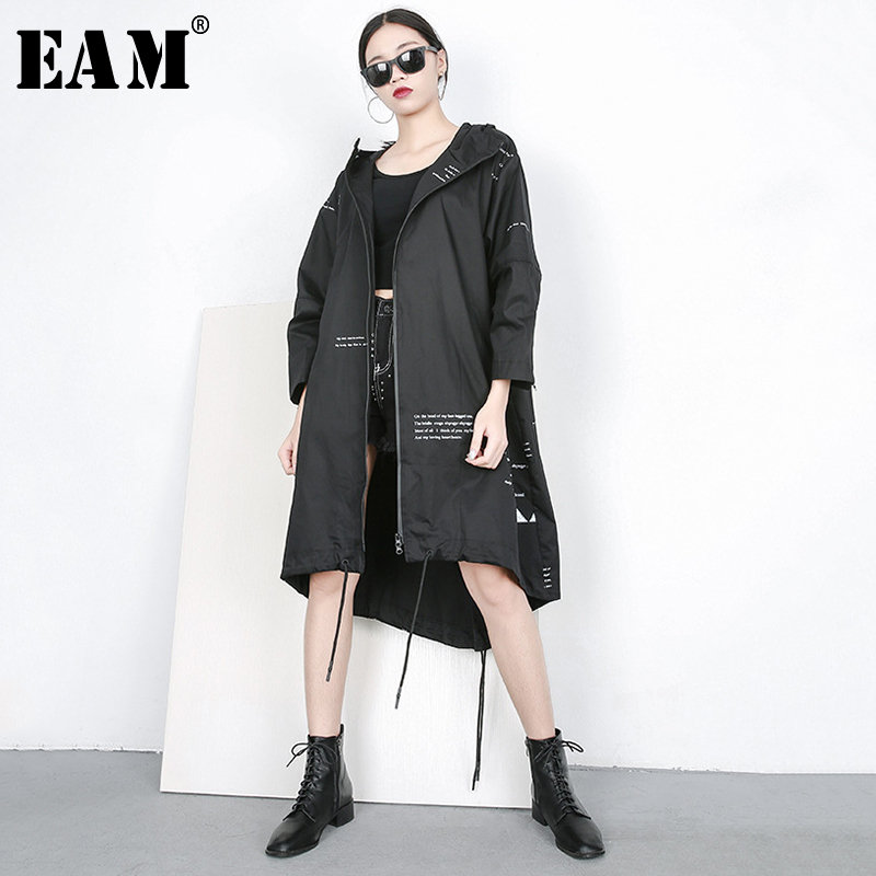 [EAM] 2019 New Spring Summer Hooded Long Sleeve Pattern Printed Irregular Big Size Thin Windbreaker Women   Trench   Fashion JQ633