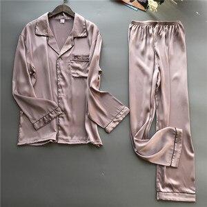 Image 2 - 2019 גברים פיג מה סטי עם מכנסיים משי פיג מה אביב קיץ הלבשת Pyjama אלגנטי לילה ללבוש Nightsuits