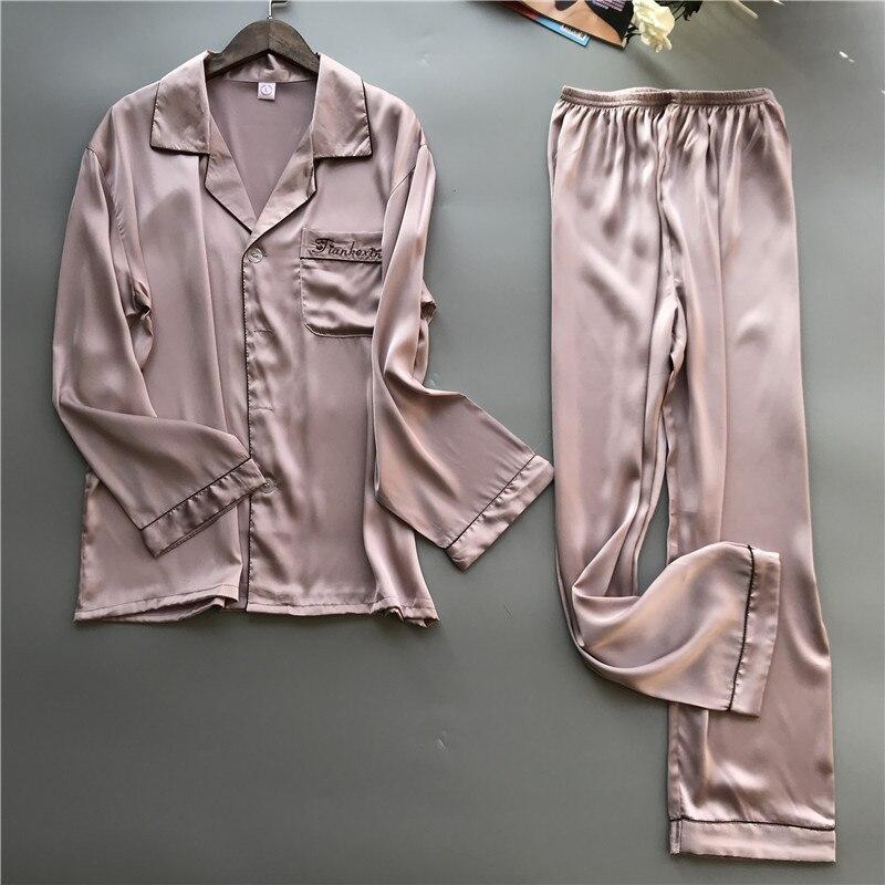 Image 2 - 2019 пижамный комплект для мужчин со штанами, шелковая пижама на весну и лето, пижама, Элегантная ночная одежда, ночные рубашки-in Пижамные комплекты для мужчин from Нижнее белье и пижамы on AliExpress - 11.11_Double 11_Singles' Day