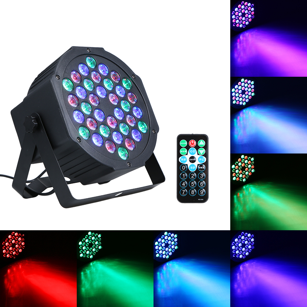 LED RGB Mini Stage Par Light Fixture With RF Remote Controller Supported Sound Activated/ Auto-running/ DMX512/ Master-slave